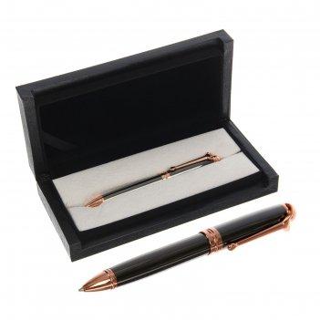 Ручка подарочная, шариковая, в кожзам футляре, поворотная, «президент», бр