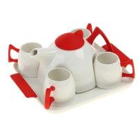 Сервиз чайный red, 5 предметов на подставке: 4 чашки, чайник 600 мл