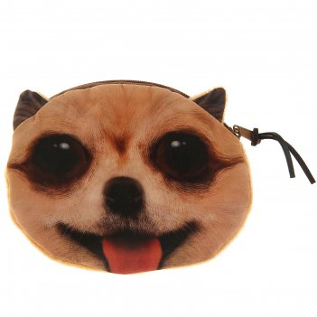 Мягкий кошелек собачка большие глаза рыжая
