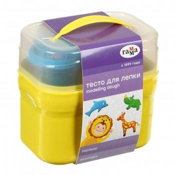 Тесто для лепки малыш. зоопарк , 4 цвета * 60г, 5 формочек, пластиковый ке
