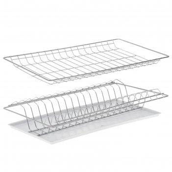 Комплект посудосушителей 46,5х25,6 см с поддоном, для шкафа 50 см, хром