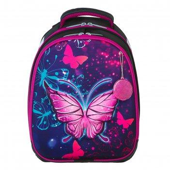 Рюкзак каркасный calligrata, 3d-рисунок, 38 х 30 х 16, «неоновая бабочка»,