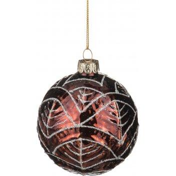 Декоративное изделие шар стеклянный диаметр=8 см. высота=9 см. цвет: корич