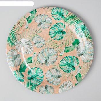 Тарелка крафтовая тропики однослойная, 18 см