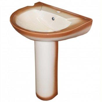 Умывальник rosa, элеганс, с пьедесталом, коричневый