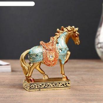 Сувенир полистоун конь золотой в цветной попоне 10,5х10,5х3,4 см