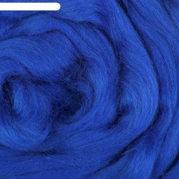 Шерсть для валяния 100% полутонкая шерсть 50 г (019, василек)