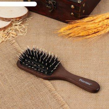 Расчёска-щётка, широкая, цвет «тёмное дерево»