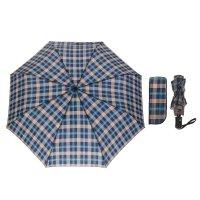 Зонт автоматический «клетка», 3 сложения, 8 спиц, r = 49 см, цвет синий/го