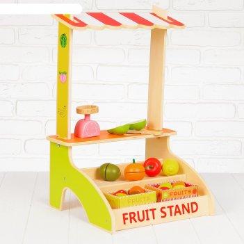 Игровой набор лоток с фруктами, деревянные фрукты в комплекте