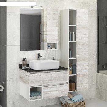Зеркало-шкаф comforty «прага-75» дуб белый