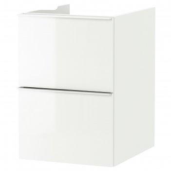 Шкаф для раковины годморгон 2 ящика, глянцевый белый