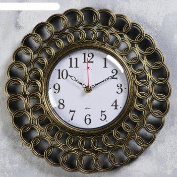 Часы настенные классика d=31 см, корпус чёрный с золотом , плавный ход
