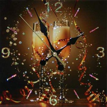 Картина сваровски - часы брызги шампанского