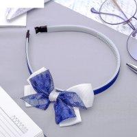 Ободок для волос бантик (фасовка по 6 шт) 1 см, белый, синий, пайетки