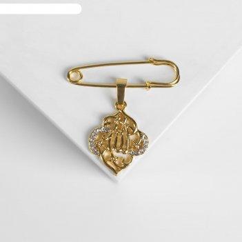 Булавка с подвеской мусульманская бисмала, 3,5см, цвет белый в золоте