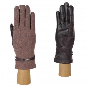 Перчатки женские натуральная кожа/шерсть (размер 7.5) сиреневый