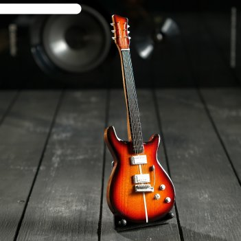 Гитара сувенирная santana коричневая, на подставке 24х8х2 см