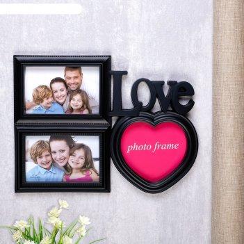 Фоторамка влюбленность на 3 фото 10х15 см, 15х15 см, чёрная