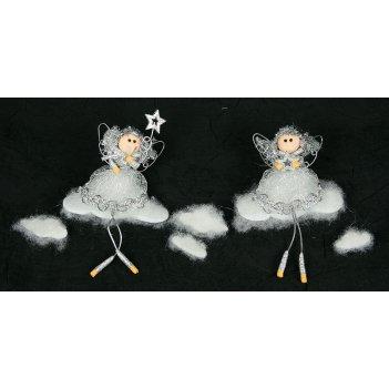 """Новогодняя фигурка """"ангелы на облаке"""" 15см"""