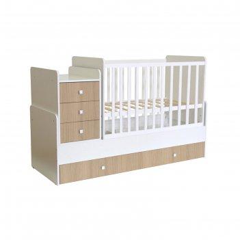 Кроватка-трансформер polini kids simple 1111 с комодом, цвет белый/ваниль