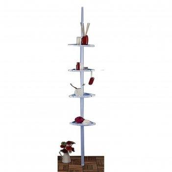 Угловая полка, телескопическая, 135 - 250 см, 4 полки, 21 х 21 см, голубая
