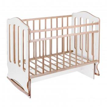 Кроватка детская чудо, маятник, колесо,качалка, цвет белый/береза