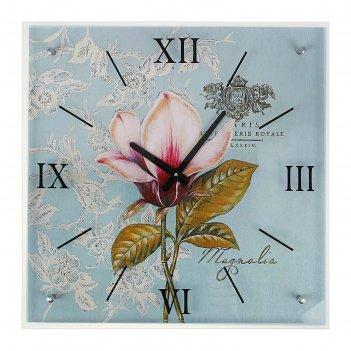 Часы настенные, серия: цветы, магнолия, 50х50  см, микс