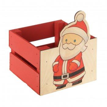 Ящик реечный дед мороз (печать) 13х13х9/15 см, красный