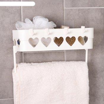 Держатель для ванных принадлежностей на липучке «сердца», 26x10,5x6,7 см,