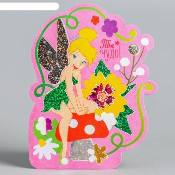 Фреска цветной фольгой феи: динь-динь, стека, блестки 2 гр, бонус: наклейк