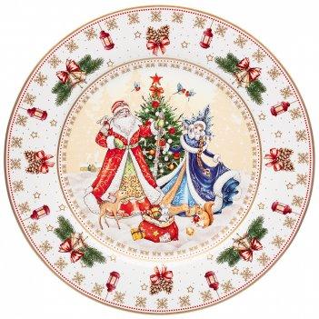 Тарелка обеденная lefard дед мороз и снегурочка 26см