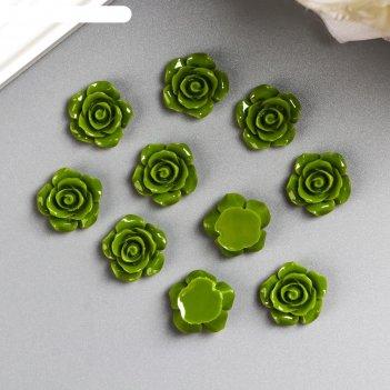 Кабошон роза, зеленый 15 мм