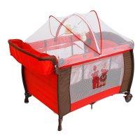 Манеж-кровать мишки, цвет красный