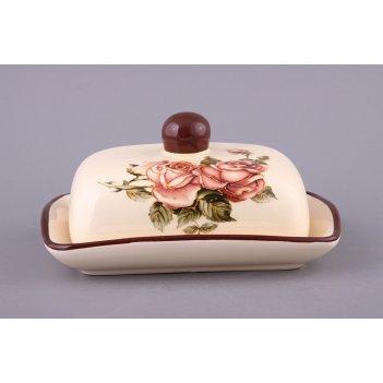 Масленка корейская роза 17*12*10 см.(кор=32шт.)