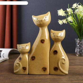 Сувенир керамика котятки в пятнышко набор 3 шт 22х20х4 см