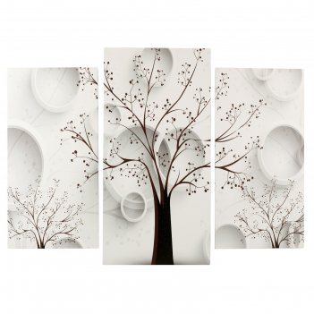 Модульная картина деревья (2-25х50, 30х60 см) 60х80 см