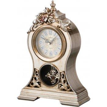 Часы настольные кварцевые с маятником цветы 26*10*37 см. диаметр циферблат