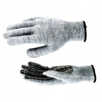 Перчатки трикотажные, акрил, пвх гель, протектор, серая туча, оверлок росс