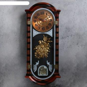 Часы настенные, серия: маятник, павлины, 37х10х93 см