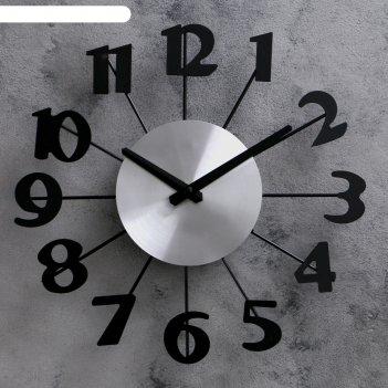 Часы настенные большие черные цифры на веточках, большие стрелки, 31*31см
