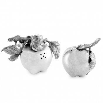 Солонка и перечница «ферма яблоко», размер: 7 см, материал: олово, серия f