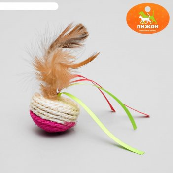Игрушка-неваляшка из сизаля с перьями и лентами, 5,3 х 9,5 см, микс цветов