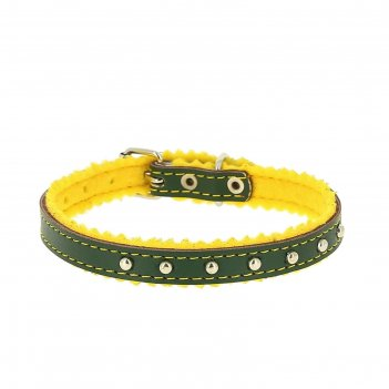 Ошейник кожаный украшенный, на синтепоне, ош 28 х 1 см, зеленый