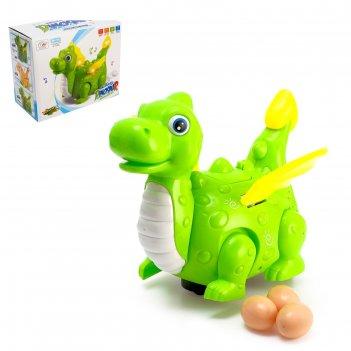 Динозавр «дракончик» работает от батареек, откладывает яйца, световые и зв
