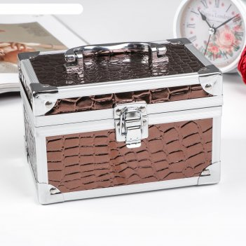 Шкатулка металлокаркас питон шоколад перламутр 11х17х11 см