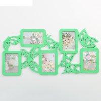 Фоторамка-коллаж бабочки 5 фото зеленый акрил