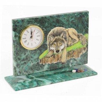 Часы волк змеевик 230х80х170 мм 1460 гр.