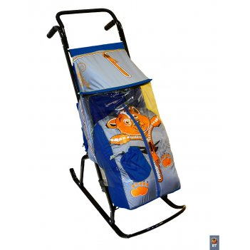 Санки-коляска снегурочка 2-р медвежонок синий-серый