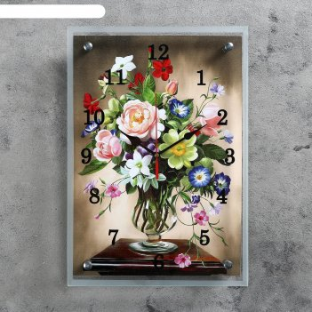 Часы настенные прямоугольные разноцветные цветы, 25х35см